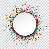 White round paper note over confetti Royalty Free Stock Photo