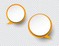 White round paper speech bubbles. Vector illustration of white paper two round speech bubbles with shadow. Eps10 vector illustration