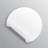 White round paper sticker with edge curl  on a transparent background Royalty Free Stock Photo