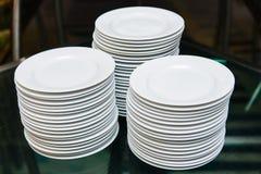 White round plates Stock Image