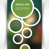 White round rings outline on green blurred background creative brochure leaflets promotion marketing vector Royalty Free Stock Photography