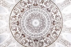 White round silver ornament on the ceiling royalty free illustration