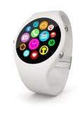 White round smart watch on white background Stock Photo