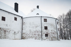 White round tower facade of Turku castle bailey Royalty Free Stock Photos