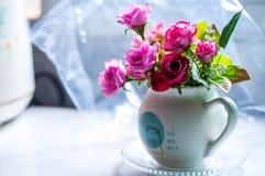 White vase flower in kitchen room royalty free stock photos