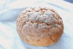 White round wheat bread fresh pastries Stock Photos
