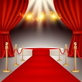 Winners podium with red carpet vector realistic illustration. White round winners podium with red carpet, red curtains and spotlights. Vector realistic Stock Images