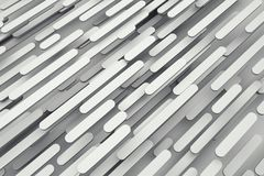 Rounded planks flow abstract geometric background. White rounded planks flow abstract geometric background. 3d rendering. Flying panels on random layers diagonal Royalty Free Stock Images
