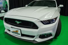 White Roush Mustang car displayed in Tel-Aviv. Israel. TEL-AVIV, ISRAEL - APRIL 4, 2017: White Roush Mustang car displayed in Tel-Aviv. Israel royalty free stock photos