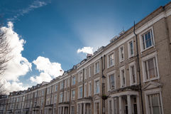 White Row Houses in London, typical architecture Royalty Free Stock Images