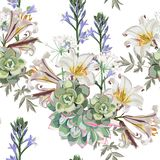 White royal lilies flowers, herbs and succulent on white background. Seamless vector floral pattern. White royal lilies flowers, herbs and succulent on white vector illustration