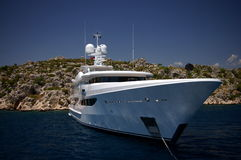 White royal yacht - Mediterranean sea Royalty Free Stock Image