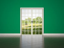 White rrom door on green wall background Stock Image