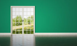 White rrom door on green wall background Stock Photos