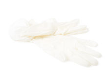 White rubber glove isolated Royalty Free Stock Images