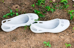 White rubber sandals Royalty Free Stock Photography