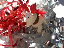 White Rudolph Christmas reindeer Stock Photo