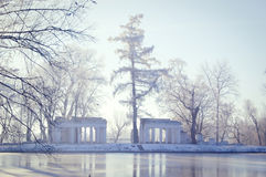 White ruins with columns and tall pine near the lake Stock Images