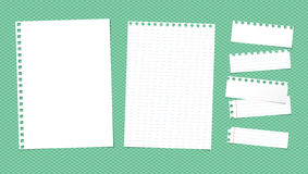 White ruled torn note, notebook, copybook paper sheets  Royalty Free Stock Photography