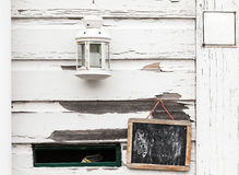White rural wooden wall with chalkboard Stock Photography