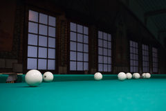 White russian billiard balls position on green table cloth Royalty Free Stock Photo