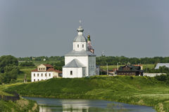 White Russian church near the river. Stock Photo