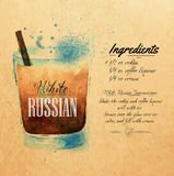 White Russian cocktails watercolor kraft. White  Russian cocktails drawn watercolor blots and stains with a spray, including recipes and ingredients on the Stock Images