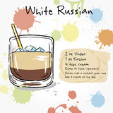 White Russian. Hand drawn illustration of cocktail. Royalty Free Stock Photography