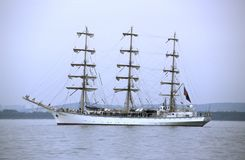 White Russian sailship Nadezhda. Russian three masted training vessel Nadezhda in the Gulf of Gdansk before tall ships parade. Analog photography, slide scan Royalty Free Stock Photography