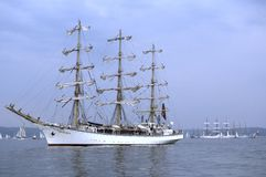 White Russian sailship Nadezhda. Russian three masted training vessel Nadezhda and other tall ships in the Gulf of Gdansk before tall ships parade. Analog Stock Photo