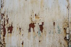 White Rust Metal Decayed Crumpled Sheet Wide Background. Corroded Steel Structure stock photos