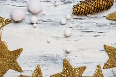 Christmas time is comming - rustic white and gold card background stock photography