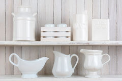 White Rustic Kitchen Shelves Stock Photography