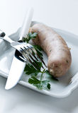White rustic sausage Stock Image