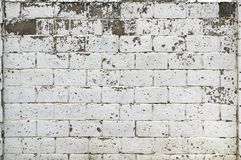 White Rustic Texture. Retro Whitewashed Old Brick Wall Surface. Vintage Structure. Grungy Shabby Uneven Painted Plaster. Whiten. Facade Background. Design royalty free stock image