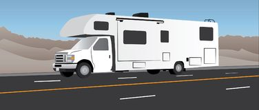 RV camping trailer on highway. White RV recreational vehicle driving on highway or road with colorful background of mountains and sky vector illustration Stock Photography