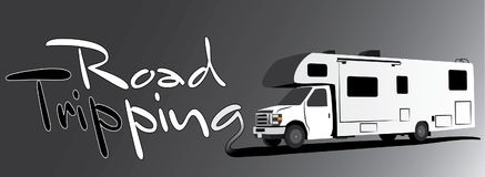 RV camper with text road tripping Stock Images