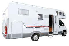 White rv truck isolated Royalty Free Stock Photos