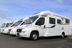 White RVs in a Row Stock Image