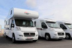 White RVs in a Row Stock Images