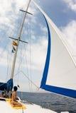 white ' s sail. zachmurzone niebo Zdjęcia Royalty Free