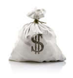 White sack with dollars money Royalty Free Stock Image