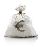 White sack with euro money Royalty Free Stock Photo