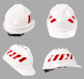 White safety helmet. Construction hard hat. Stock Photos