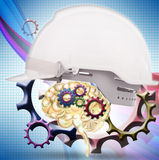 White safety helmet cover brain gear inside Royalty Free Stock Photography