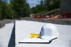 White safety helmet for foreman stock photo