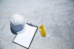 White safety helmet for foreman stock image