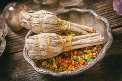 White sage and colorful incense Stock Image