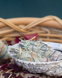 White Sage Smudge Sticks in a Seashell. White sage Salvia apiana smudge sticks in a seashell in a basket with rose petals royalty free stock photos