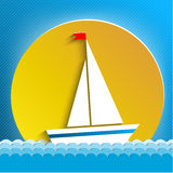 White sail across the sun. Travel on water Royalty Free Stock Images